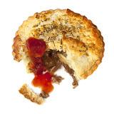 Meat Pie with Tomato Sauce Isolated. Meat pie with tomato sauce, isolated.  Lamb with rosemary Royalty Free Stock Photos