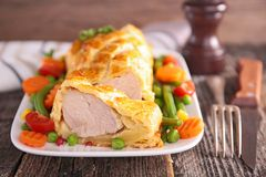 Meat pie and vegetables Royalty Free Stock Photography