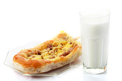 Meat pie and yogurt Stock Image