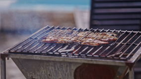Meat piece roasts on fire on metal barbecue grid stock video