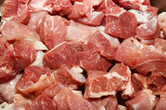 Meat pieces. It is a lot of slices of crude meat - a goulash. A background Royalty Free Stock Photo