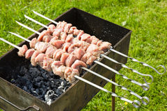 Meat pieces cooking on a skewer Stock Image
