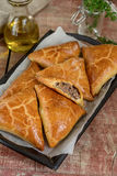Meat pies samosas with ground beef Stock Photo