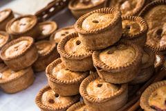 Meat Pies. A selection of delicious meat pies for sale at a market stall Royalty Free Stock Photo