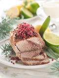 Meat. With pink pepper for Holiday dinner, selective focus Stock Photo