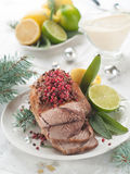Meat. With pink pepper for Holiday dinner, selective focus Royalty Free Stock Photography