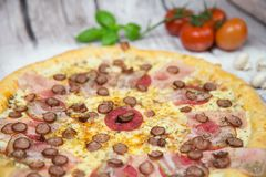 Meat pizza with background stock photos