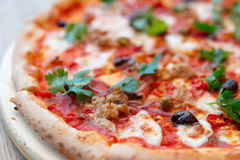 Meat pizza close-up Royalty Free Stock Photos