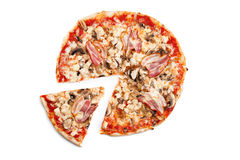 Meat pizza. With slice  on white background Stock Image
