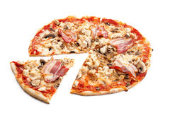 Meat pizza. With slice  on white background Stock Images