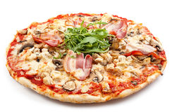 Meat pizza. With slice  on white background Royalty Free Stock Images