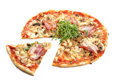 Meat pizza. With slice  on white background Stock Photo