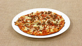 Meat Pizza White Plate Stock Image