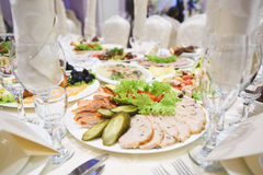Meat Plate with Cucumbers Royalty Free Stock Images