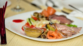 Meat plate. Royalty Free Stock Photo