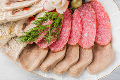 Meat plate with delicious pieces of sliced ham, sausage, olives, beef tongue, herbs and meat with radish on white plate and wooden. Table. Close up with Stock Images