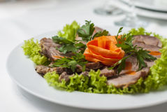 Meat plate with lettuce and parsley Stock Images