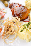 Meat plate with potatoes Stock Photography