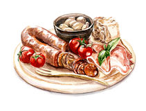 Meat plate with sausage Stock Photos