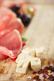 Meat platter of Cured Meat with cheese and olives Stock Photography
