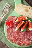 Meat platter of Cured Meat and figs Royalty Free Stock Photos