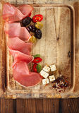 Meat platter of Cured Meat and olives Royalty Free Stock Photos