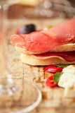Meat platter of Cured Meat and olives Stock Image