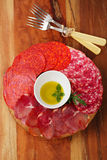 Meat platter of Cured Meat and salami Royalty Free Stock Photos