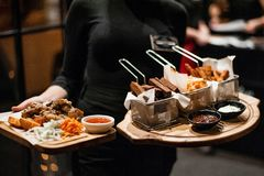 Meat platter on a tray. royalty free stock image