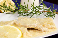 Meat pork. With milk and lemon Stock Images