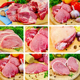 Meat pork on board set. Collection of images of pork, knuckle, garlic, napkin, parsley, onions on a wooden boards background Royalty Free Stock Photos