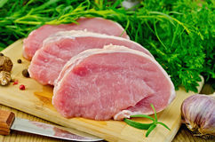Meat pork slices on a board with greens Royalty Free Stock Photography
