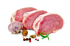 Meat pork slices with spices Stock Photos