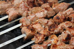 Meat porkis fried on the grill skewers at coals 20450 Stock Image