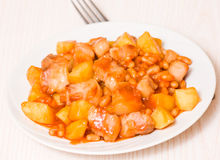 Meat with potato and beans Stock Image