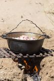 Meat with potatoes in a cauldron on fire.  Royalty Free Stock Photography