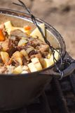 Meat with potatoes in a cauldron on fire Royalty Free Stock Photography