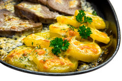 Meat and potatoes fried in a pan Royalty Free Stock Images