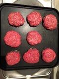 Meat prepared to make hamburger stock photos