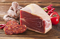 Meat product. S on the wooden table stock photo