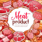 Meat product and sausage sketch poster Stock Photos