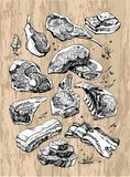 Delicious drawing of different kinds and pieces of meat. Meat products are black and white on the background of wood stock illustration
