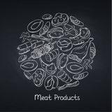 Meat products on chalkboard. Hand drawn meat products on chalkboard. Round banner poster market template with hand drawn sketch gastronomic meat, chicken. pork stock illustration