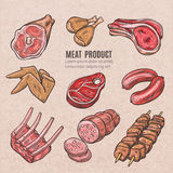 Meat Products Color Sketches. Set in vintage style with skewers pork ribs chicken wings steaks and sausages vector  illustration Royalty Free Stock Images