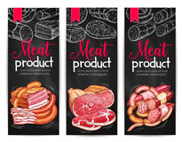 Meat products delicatessen vector banners sketch Royalty Free Stock Image