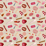 Meat products food butcher store pattern vector flat background. Meat products food butcher shop store pattern seamless background vector texture abstract Stock Image