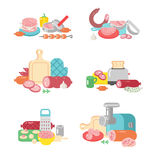 Meat products food preparation flat vector illustration icons. Meat products ingredient preparation and meat products rustic elements preparation equipment Royalty Free Stock Image