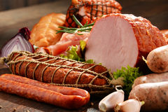 Meat products including ham and sausages Royalty Free Stock Photography