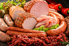 Meat products including ham and sausages Stock Images