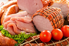Meat products including ham and sausages Royalty Free Stock Photos